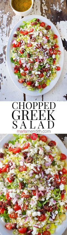 Chopped Greek Salad recipe. The BEST salad you will ever eat. MarlaMeridith.com @marlameridith