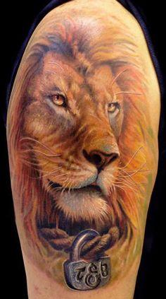 Lion tattoo by Fahrettin Demir