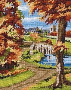 Autumn Scene Needlepoint Tapestry Kit by Anchor