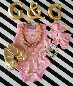 Pink and Gold Baby Onesies - Cute Pink and Gold Polka Dot Baby Girl Toddler Girl Little Girl Tank Bodysuit Rompers Size 0 to 3T by GlittersandGoldShop on Etsy https://www.etsy.com/listing/240671206/pink-and-gold-baby-onesies-cute-pink-and