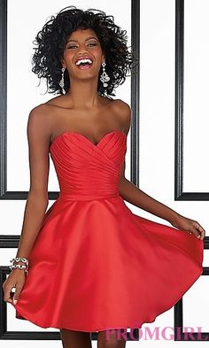 Ruched Short Strapless Sweetheart by Mori Lee at PromGirl.com