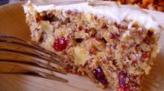 Red Quinoa, Apple & Cranberry Cake with Homemade Cream Cheese Frosting chees frost, frostings, cranberri cake, food, red quinoa, apples, apple cakes, cranberries, cream cheese frosting