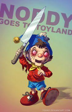 This is a series of 'gritty' childhood pop culture characters by DeviantARTist Tohad. There's a whole bunch of them: Ronald McDonald, the Telletubbies, Shrek, Winnie the Pooh, Mario and Luigi, Buzz Lightyear, Alice in Wonderland, Inspector Gadget and more....