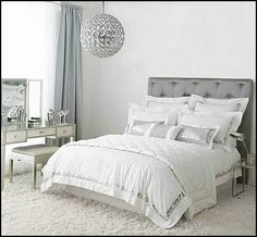 Decorating theme bedrooms - Maries Manor: Hollywood glam themed bedroom ideas - Marilyn Monroe Old Hollywood Decor - Hollywood theme decor- decorating Hollywood glam style bedrooms - Hollywood glam furniture - Hollywood At Home - Silver Bedroom, Glam Bedroom, Bedroom Themes, White Bedroom, Bedroom Decor, Bedroom Ideas, White Bedding, Silver Bedding, Master Bedroom
