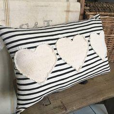 Vintage grain sack pillow/ farmhouse pillow/ Valentines Day/