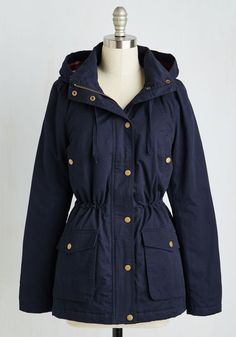 Plan of Anorak Jacket. Next up on your busy weekend agenda is zipping into this navy anorak and setting off for a romp around the forest! #blue #modcloth