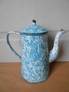 ANTIQUE French Enamel Graniteware BLUE SWIRL COFFEE POT  1920