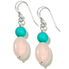 """""""River of Love"""" Turquoise and Rose Quartz Sterling Silver Drop Earrings at HSN.com."""