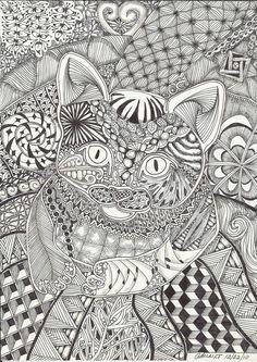 Kitten on a Mat Abstract Doodle Zentangle Paisley Coloring pages colouring adult detailed advanced printable Kleuren voor volwassenen coloriage pour adulte anti-stress kleurplaat voor volwassenen Cat
