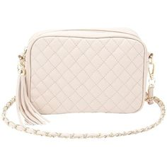 Charlotte Russe Quilted Crossbody Bag ($19) ❤ liked on Polyvore featuring bags, handbags, shoulder bags, nude, zip coin purse, quilted crossbody, quilted crossbody purse, pink shoulder bag and chain shoulder bag