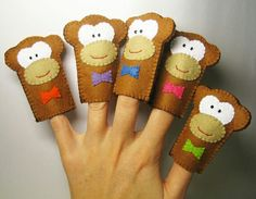 PDF PATTERN: Five Little Monkeys - Finger Puppets Set sewing tutorial - Handmade Soft Felt Animal Toy DIY hand stitch - brown Double layers by FeltFamily on Etsy Felt Puppets, Felt Finger Puppets, Sewing Tutorials, Sewing Projects, Finger Puppet Patterns, Five Little Monkeys, Pet Monkey, Monkey Doll, Finger Plays