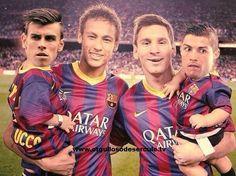 Neymar y Messi cargan a sus hijos.....