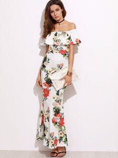 Women Flower Off Shoulder Slit Fishtail Cocktail Evening Bodycon Party Dress - Dresses