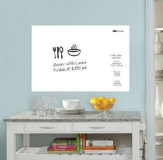 dry erase board. stick on dry erase board. great for learning. organizing the home
