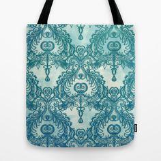 Vintage Wallpaper pattern in cobalt blue & emerald green Tote Bag