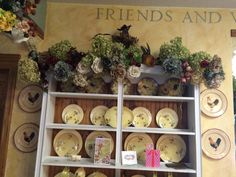 Full view on floral view on farmhouse hutch for the a fall season.