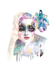 Fashion Watercolor Illustration Portrait Lola   Marta Spendowska Watercolor Fashion Illustration & Surface Design