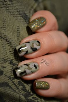Camo Nail Art, Camouflage Nails, Camo Nails, Swag Nails, Nails Gelish, Manicure E Pedicure, Fancy Nails, Pretty Nails, Olive Nails