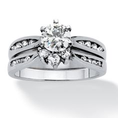 Palm Beach Jewelry 2 Piece 1.22 TCW Cubic Zirconia Bridal Ring Set in Sterling Silver Classic CZ