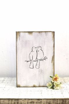 Rustic wedding guest book with Love Birds is perfect for you to remember your special day forever, full of your loved ones names! Our guest book is hand painted with your choice of color. Perfect photo prop and a forever keepsake // by DesignLifeStudio