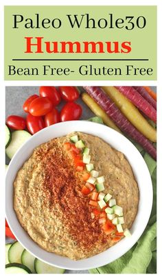 Paleo Whole30 Hummus- bean-free and so easy to make! This delicious dip is creamy and packed with veggies. Gluten free, vegan, and dairy free.