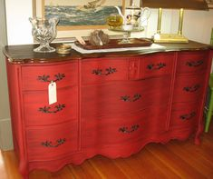 WOW! Annie Sloan paint in Emperor's Silk with a little black glaze