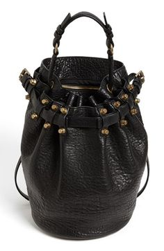 $875, Alexander Wang Diego Leather Bucket Bag Black Brass. Sold by Nordstrom. Click for more info: https://lookastic.com/women/shop_items/83689/redirect