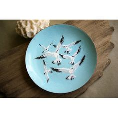 Vintage Enamel on Copper Seagull Dish by AnneMarie Davidson Mid... ($78) ❤ liked on Polyvore featuring home, home decor, enamel dish, enamel dishes, copper home accessories, metal dishes and copper home decor