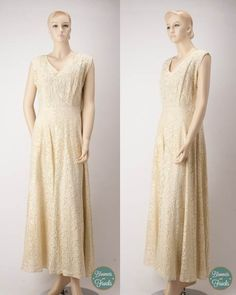 1950s Cream Lace and Faux Pearl and Rhinestone Wedding/Formal Dress $148