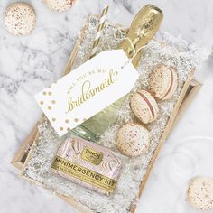You've got the ring—pop the next big question to your best gals with champagne, macarons, and our new Swirl Minimergency for Bridesmaids #bridesmaidsgift #bridesmaids