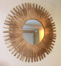 12 Grown-Up Versions of Your Favorite Childhood Crafts,You can use popsicle sticks to create a beautiful frame for a mirror. Modern Accessories with Frame Versions By placing your photos in it, it is simpl. Diy Popsicle Stick Crafts, Popsicle Sticks, Popsicle Stick Coasters, Paint Stick Crafts, Craft Sticks, Mirror Crafts, Diy Mirror, Diy Wall Art, Diy Wall Decor