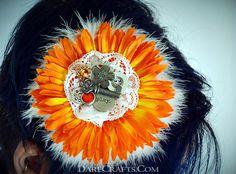 Bjork Hair Flower - Now available at www.darecrafts.com. #hairflower #hairaccessories #hairflowerclip #steampunkaccessories