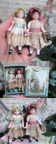 """ Sew Time Sisters"" Two Tiny 3"" All Bisque Vintage Miniature dollhouse dolls in Display Sew Box by NooshfairlovesDreamCorner"