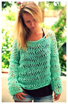 Boxy Loose Weave Sweater in Turquoise by munamiu on Etsy, $69.00