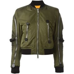 Dsquared2 strap detail aviator jacket ($2,150) ❤ liked on Polyvore featuring outerwear, jackets, green, aviator jacket, short green jacket, stand collar leather jacket, green leather jacket and 100 leather jacket