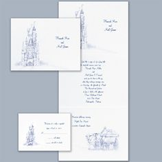 Fairy tale wedding invitations castle and carriage design accents your wording on this z-fold wedding invitation on shimmering white paper.  1AFF12665D