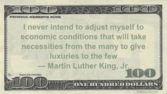 Martin Luther King, Jr. Money Quotation saying he could not accept that our system is tilted in favor of the wealthy