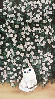 Animal illustration -- white cat with flowers Cat Wallpaper, Kawaii Wallpaper, Wallpaper Backgrounds, Art And Illustration, Illustrations, Cat Drawing, Crazy Cats, Cat Art, Cute Animals