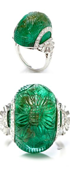 Vintage Art Deco Carved Emerald and Diamond Ring
