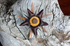 Items similar to Reeses Piece - Molded Leather Flower Headpiece - Barrette on Etsy Flower Headpiece, Leather Flowers, Barrette, Bee, Etsy, Floral Headpiece, Flower Headdress