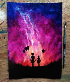 Silhouette art with background Galaxy Painting, Galaxy Art, Ciel Nocturne, Arte Sketchbook, Silhouette Painting, Art Anime, Spray Paint Art, Crayon Art, Creative Artwork