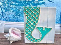 Handmade Mermaid Tail with Rope Beach Pallet Art Mermaid Art