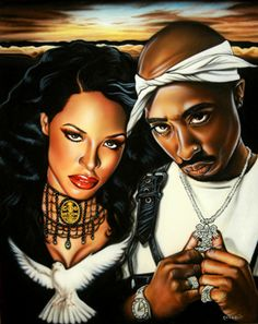 Fan Art : Two incredible & very talented artists. May they always rest peacefully. Aaliyah & 2pac