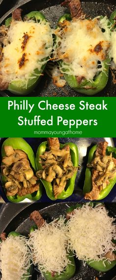 These Philly Cheese Steak Stuffed peppers are super easy to make and so delicious. (Cheese Making Low Carb) Side Dish Recipes, Low Carb Recipes, Dinner Recipes, Cooking Recipes, Healthy Recipes, Cooking Ideas, Dinner Ideas, Keto Stuffed Peppers, Philly Cheese
