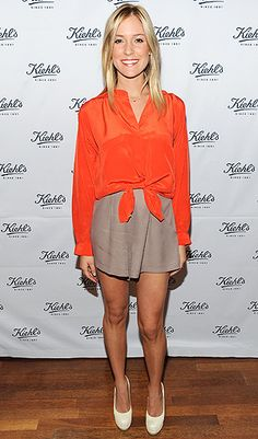orange button down, nude shorts and brown pumps & belt