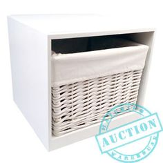 Stackable White Wooden Storage Cube Box Unit Woven Wicker Cotton Lined Basket