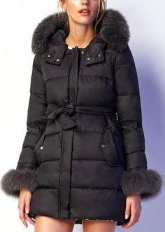 Fur-Trim Puffer Coat in Black