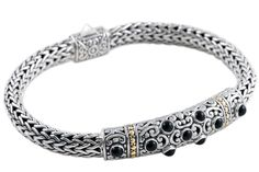 Black Onyx Sterling Silver Woven Bracelet with 18K Gold Accents | Cirque Jewels
