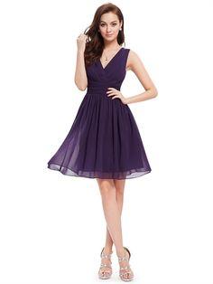 Purple V Neck A Line Chiffon Cheap Modest Short Bridesmaid Dress Prom Dress