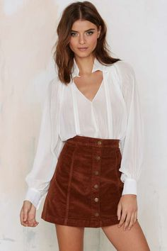 Jocelyn Button-Down Corduroy Skirt - Skirts | That '70s Flow